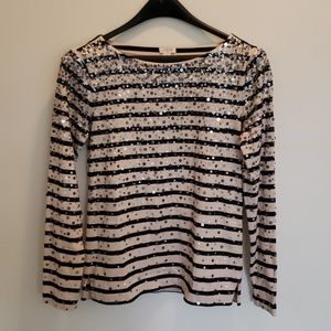 J. Crew Structured Boatneck Top with Sequins